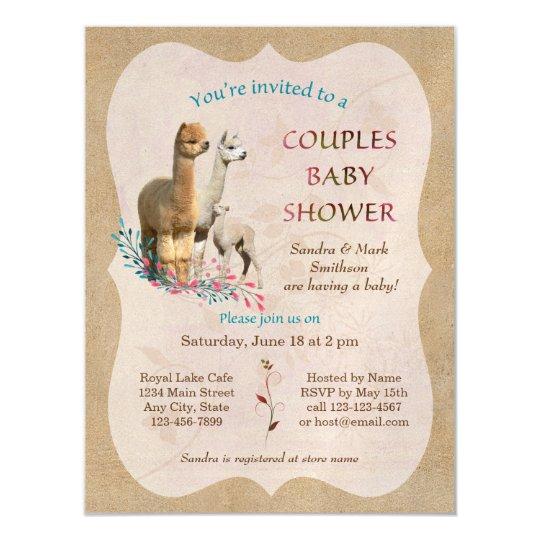 Alpaca couples baby shower magnetic invitations zazzle alpaca couples baby shower magnetic invitations filmwisefo