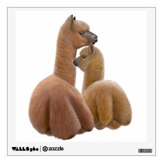 Alpaca de la madre con la etiqueta de la pared de