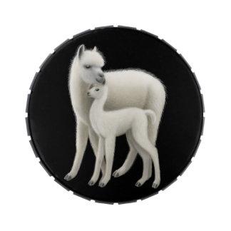 Alpaca de la madre con lata del caramelo de Cria Frascos De Dulces