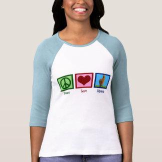 Alpaca del amor de la paz camisetas