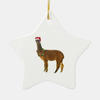 Alpaca del día de fiesta del navidad adorno navideño de cerámica en forma de estrella