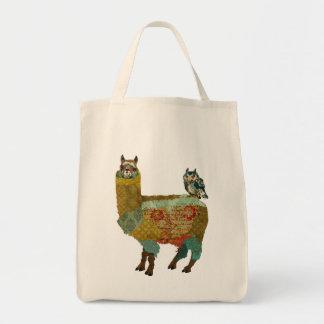 Alpaca del oro y bolso azul del búho bolsa