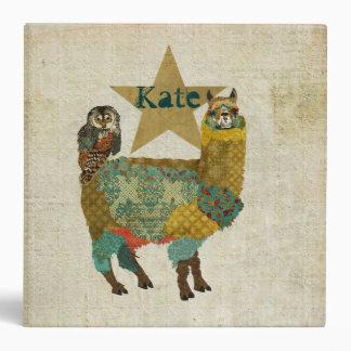 """Alpaca del oro y cuaderno personalizado búho del carpeta 2"""""""