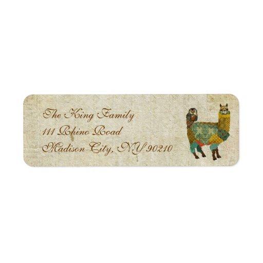 Alpaca del oro y etiqueta de dirección del búho de