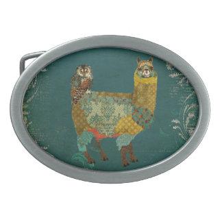 Alpaca del oro y hebilla del cinturón del búho del hebillas de cinturon ovales