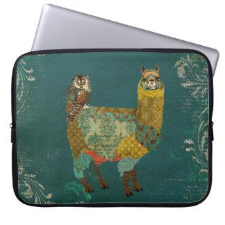 Alpaca del oro y manga del ordenador del búho del  fundas portátiles