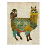 Alpaca del oro y postal del búho del trullo