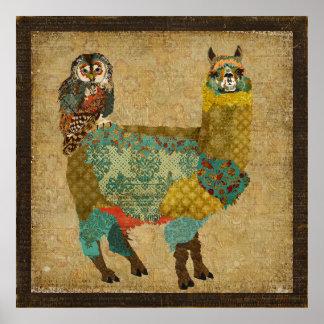 Alpaca del oro y poster del arte del búho del trul