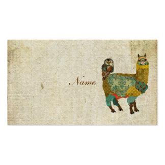 Alpaca del oro y tarjeta de visita del búho del tr