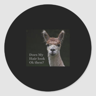 Alpaca funny hairstyle classic round sticker