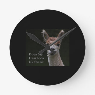 Alpaca funny hairstyle round clock