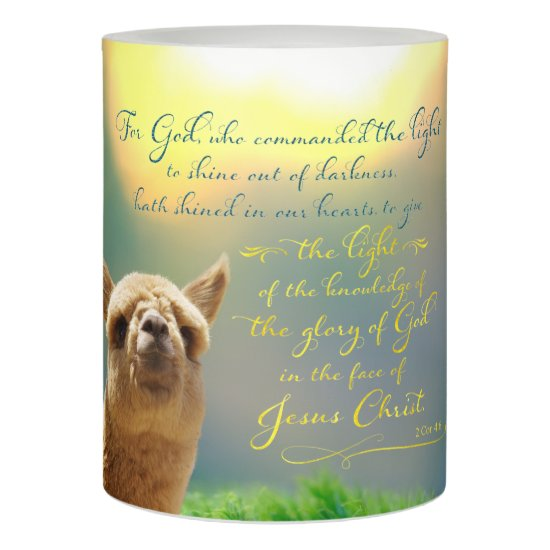 Alpaca Gold Teal Bible Quote LED Flameless Candle