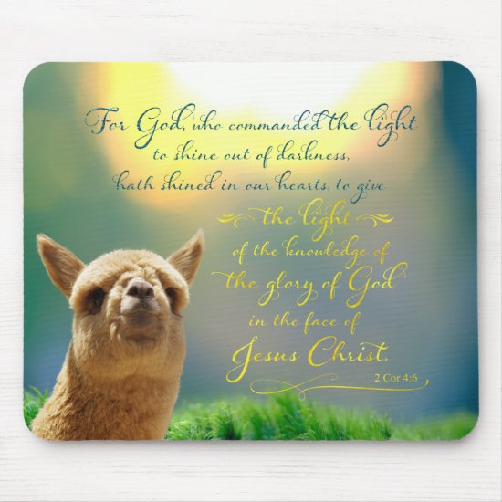 Alpaca Gold Teal Bible Quote Mousepad