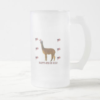 Alpaca Happy 4th of July Frosted Glass Beer Mug