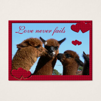 Alpaca Hearts Love Never Fails Valentines Day Card