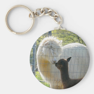 Alpaca Kiss Button Keychain