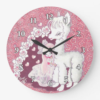 Alpaca Love Large Clock