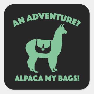Alpaca mis bolsos pegatina cuadrada