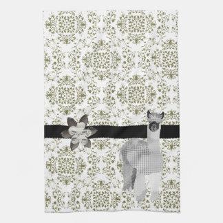 Alpaca Olive Damask  MoJo Kitchen To Towel