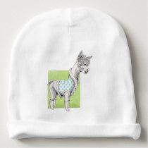 Alpaca on Green Baby Cotton Beanie
