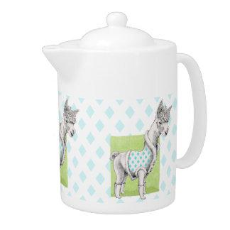 Alpaca on Green Teapot