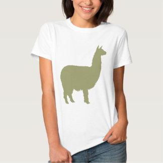 Alpaca orgullosa (en verde salvia) playeras