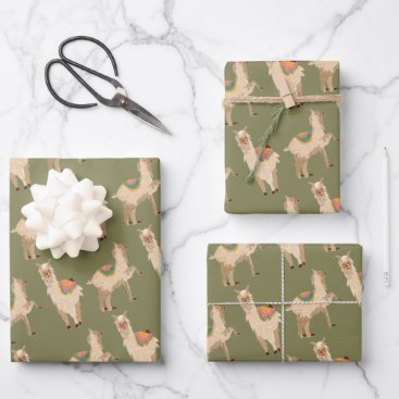 Alpaca Pattern Wrapping Paper Sheets