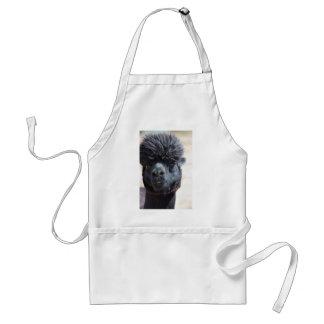 Alpaca peruana con el pelo loco delantal