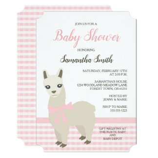 Alpaca Pink Baby Shower Invitation