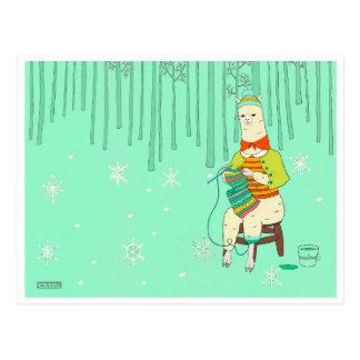 Alpaca que hace punto el   divertido/tonto/diario postal
