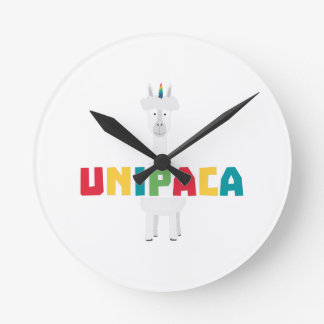 Alpaca Rainbow Unicorn Z0ghq Round Clock