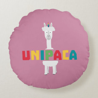 Alpaca Rainbow Unicorn Z0ghq Round Pillow