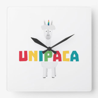 Alpaca Rainbow Unicorn Z0ghq Square Wall Clock