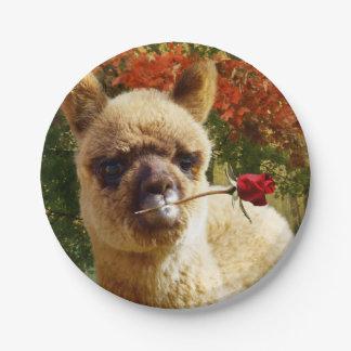 Alpaca Rose 7 Inch Paper Plate