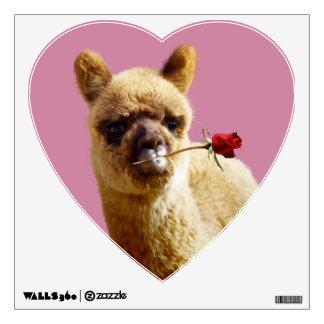 Alpaca Rose Heart Wall Decal