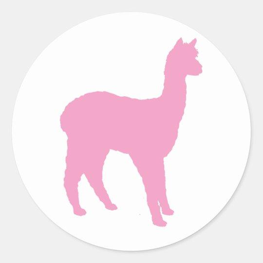Alpaca Silhouette (in pink) Classic Round Sticker