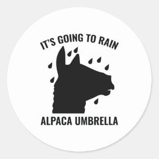 Alpaca Umbrella Classic Round Sticker