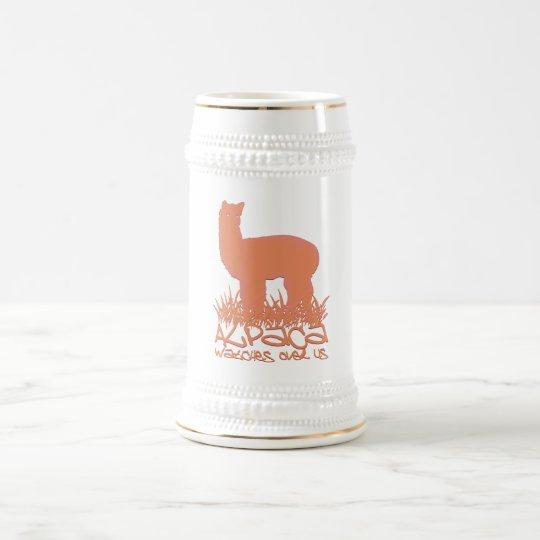 Alpaca watches over us beer stein
