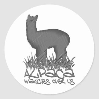 Alpaca watches over us classic round sticker