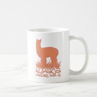Alpaca watches over us coffee mug