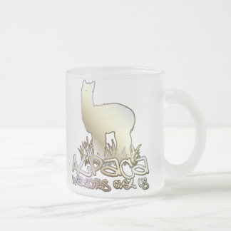 Alpaca watches over us frosted glass coffee mug