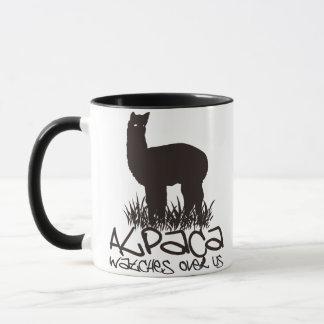 Alpaca watches over us mug
