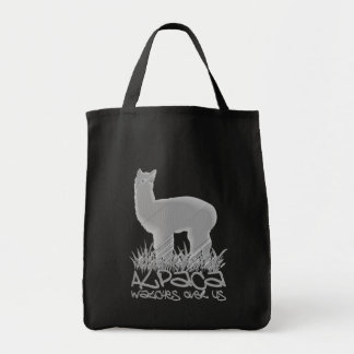 Alpaca watches over us tote bag