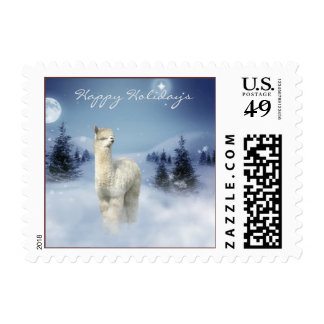 Alpaca Winter Christmas Postage Stamps