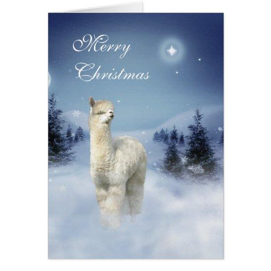 Alpaca Winter Night Christmas Cards