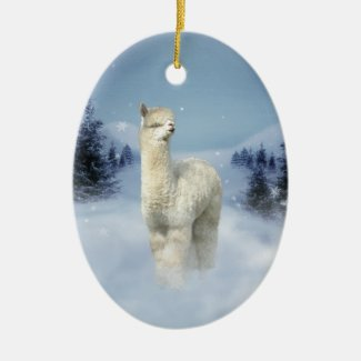 Alpaca Winter Night Christmas Ornaments