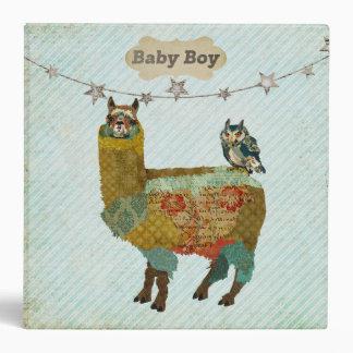 """Alpaca y libro azul del bebé del búho carpeta 2"""""""