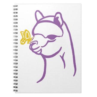 Alpaca y mariposa libro de apuntes con espiral