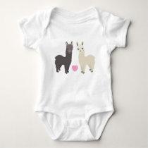 Alpacas and Heart Baby Bodysuit