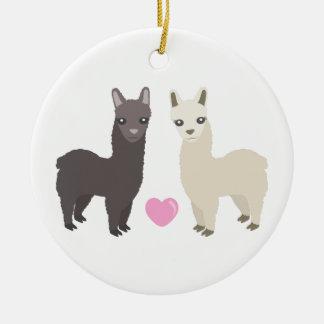 Alpacas and Heart Ceramic Ornament